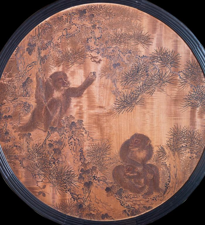 西村荘一郎「松に猿丸額図」